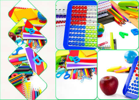 School Education Equipment Tools Collage Фото со стока