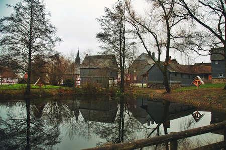 Old German Houses near Lake Photo Фото со стока