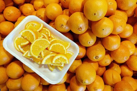 Fresh Juicy Fruit Orange in Grocery Stand