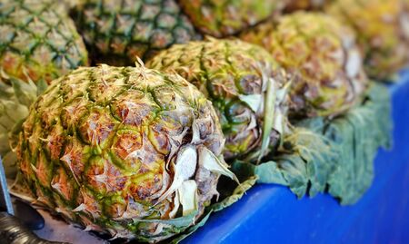 Healthy and Fresh Exotic Fruit Pineapple in a Bazaar