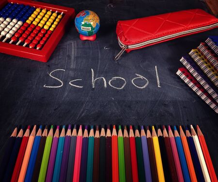 Education or Business Concept of School and Office Tools