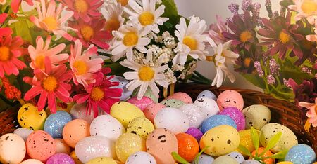 Colorful Traditional Celebration Easter Paschal Eggs Photo 写真素材