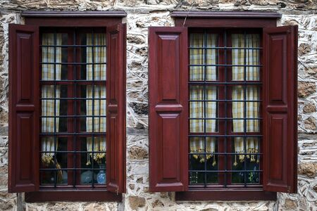 Abstract Ancient Building Houses Windows Details Photo