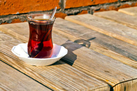Hot Turkish Tea in a Glass Cup Photo Фото со стока