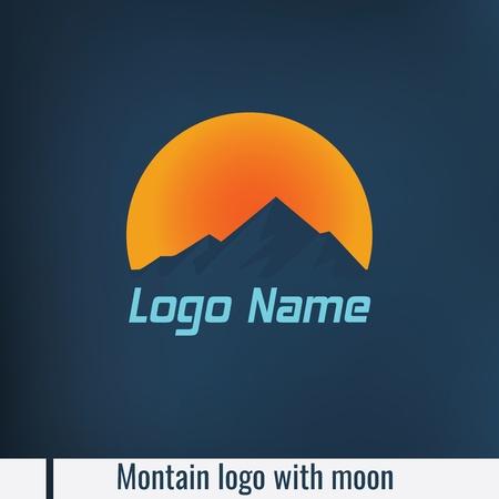 Mountain logo with moon light Stock Illustratie