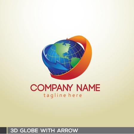 3D Globe with arrow Illustration