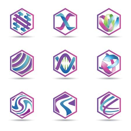Purple Hexagon Template Фото со стока - 104654454
