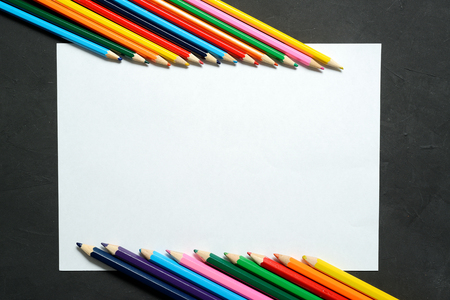 stationery items: Color pencil with copy space isolated on whtie background, education frame concept, stationery items