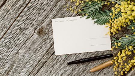 Le cartoline d'annata deridono su con i mimosas gialli dei fiori e l'inchiostro d'annata della penna su fondo di legno grigio