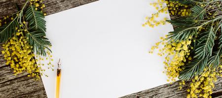 Libro bianco mock up con mimose fiori gialli e inchiostro vintage penna su fondo di legno grigio. Vista dall'alto Flat lay, vista dall'alto, moke up Archivio Fotografico