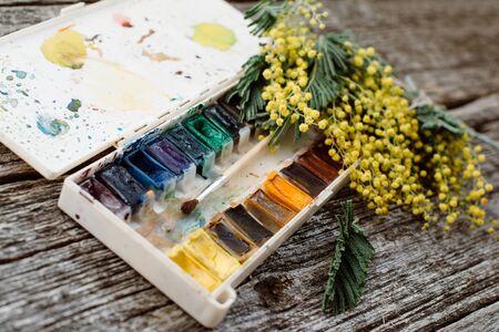 Area di lavoro. Pagina della corona con le mimose, acquerelli, pennello su fondo di legno. Archivio Fotografico