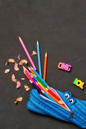 Funny Back to School concept - pencil case eating pencils on black chalk background. Space for text.. Space for text. Flat lay