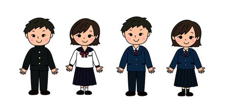 Middle and high school boys and girls set school uniform  イラスト・ベクター素材