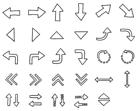 A wide variety of hand drawn white arrow icon sets  イラスト・ベクター素材