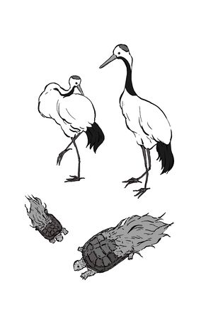 A black and white illustration of a cranes and turtles with good luck