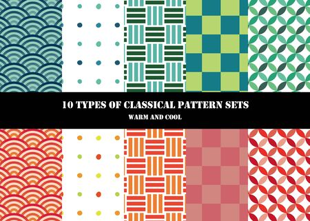 10 Traditional Traditional Japanese Pattern Sets (warm and cool colors)