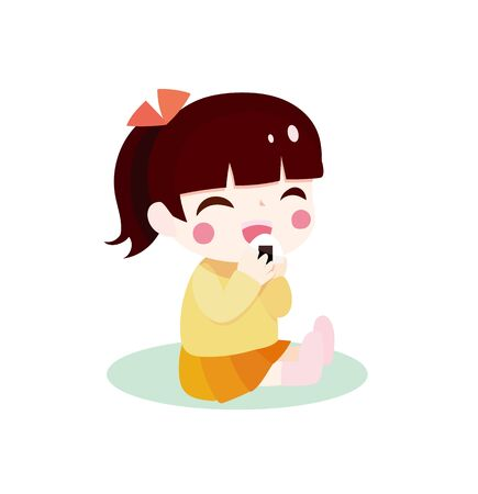 Illustration of a Smiling Girl Sitting on a Rice Ball While Sitting