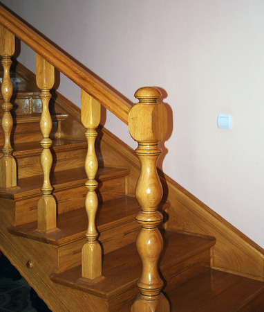 Handmade wooden staircase photo