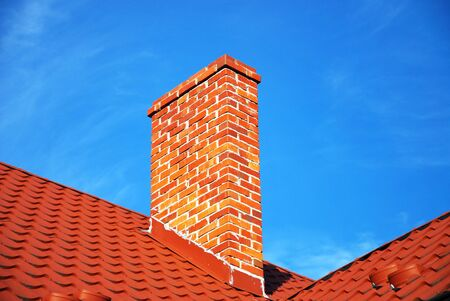 new red brick chimney photo