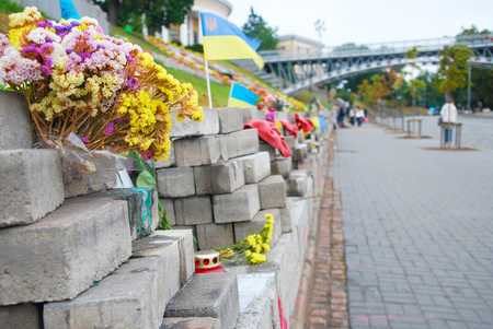 separatism: Flowers and candles in memory of heroes of Euromaidan Stock Photo