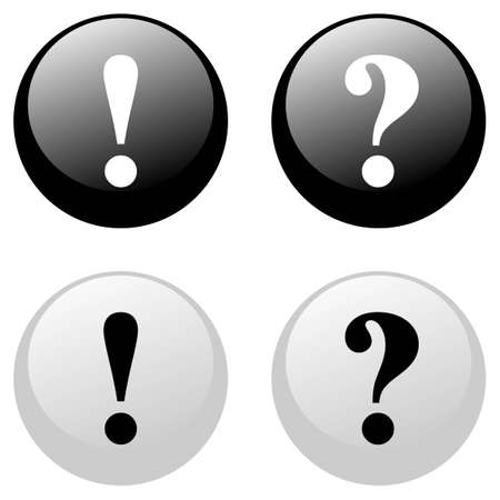 exclamatory: Exclamation and question black and white buttons
