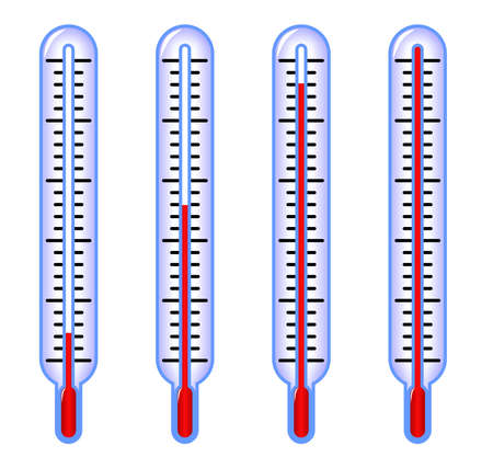 thermometers indicating low, middle and high temperature photo