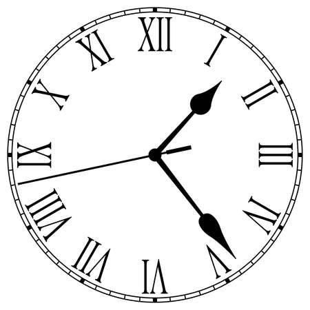 numeros romanos: Reloj cara con n�meros romanos Vectores