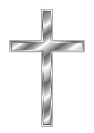 Silver Christian Cross - holy symbol of faith Vector