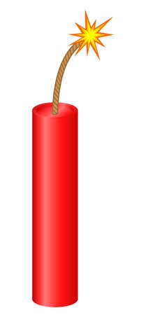 Dynamite stick with lighted fuse Vector