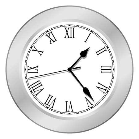 Clock in silver body Stock Vector - 4509472