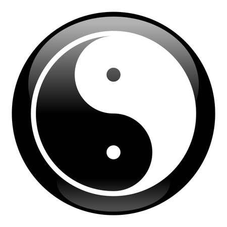 chi: Yin Yang icono negro  Vectores