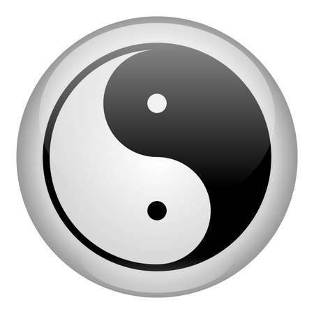 tai chi: Yin-Yang White Icon Stock Photo