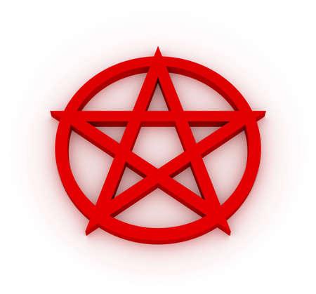 pentagram: Red Pentagram Stock Photo