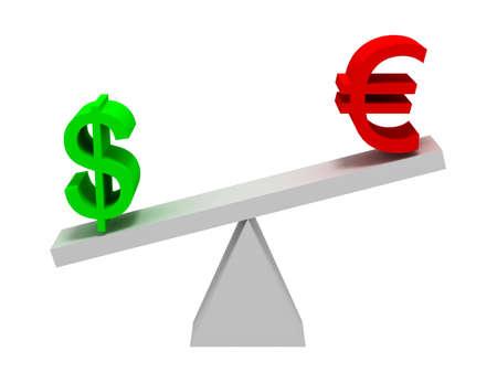 Dollar and Euro Symbols Balancing