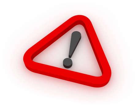 Warning Red Triangular Sign 3D