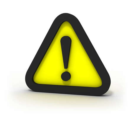 Warning Yellow Triangular Sign 3D Stock Photo - 6350342