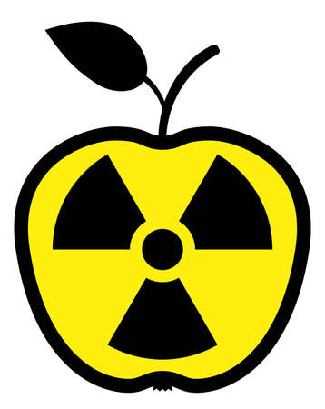 Apple polluted by radiation Stock Vector - 7079361