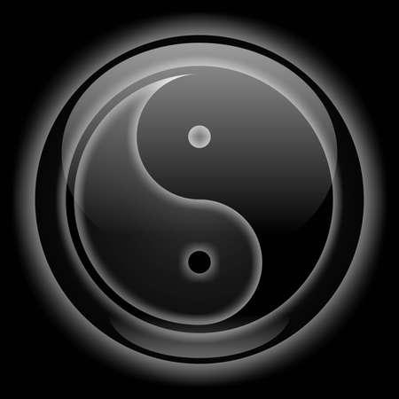 taijitu: Yin-Yang Icon Black Style Stock Photo