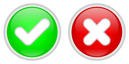confirm: Confirm and Decline buttons Stock Photo