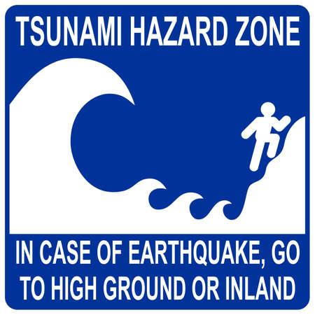 tide: Signo de zona de peligro de tsunami Vectores