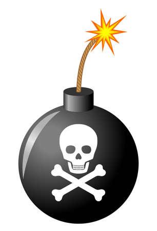skull crossbones: Bomb with skull