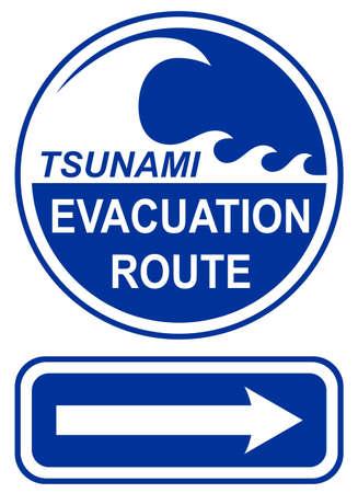 evacuacion: Signo de ruta de evacuaci�n de tsunami