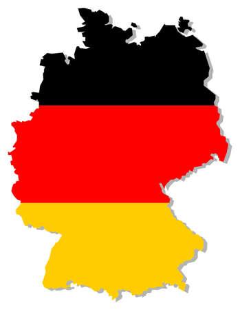 carte allemagne: Drapeau de l'Allemagne � l'int�rieur des fronti�res des pays