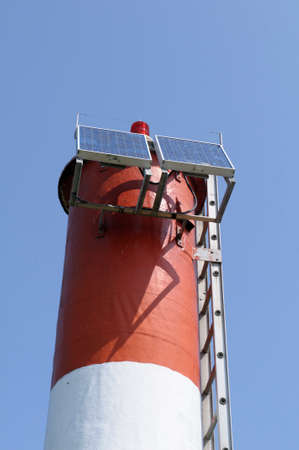 Solar panels on the Sidney Spit lighthouse, Sidney Spit, British Columbia, Canada