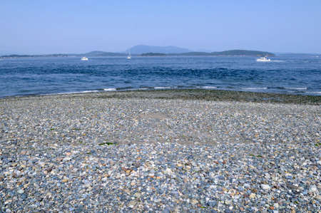 Colourful rocks on the beach at the end of Sidney Spit, British Columbia, Canada