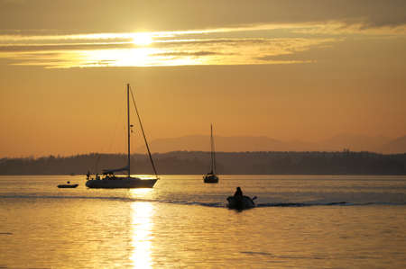 Boats at anchor, Sidney Spit, Gulf Islands National Park Reserve of Canada, British Columbia, Canada