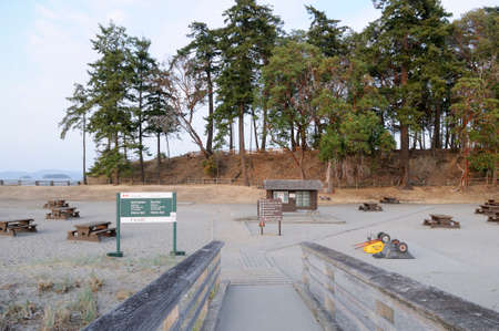 The picnic area at Sidney Spit, Gulf Islands National Park Reserve of Canada, British Columbia, Canada