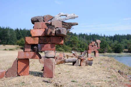 Animals made out of old bricks and driftwood, Sidney Spit, Gulf Islands National Park Reserve of Canada, British Columbia, Canada