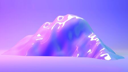 Mountain 3d landscape illuminated with neon pink and blue lights. 3d illustration rendering in horizontal format. Background for web, landing page design template with space for text. Futuristic art Stok Fotoğraf