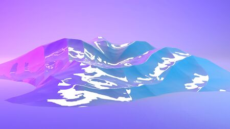 Mountain 3d landscape illuminated with neon pink and blue lights. 3d illustration rendering in horizontal format. Stok Fotoğraf